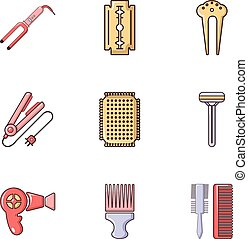 lejlighed, salon, skønhed, iconerne, sæt, firmanavnet, materiale