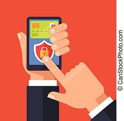 lejlighed, vektor, banking., lås, concept., illustration, beskyttelse, online, cartoon