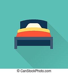 lejlighed, vektor, seng, ikon