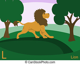 lejon, djur, alfabet, l