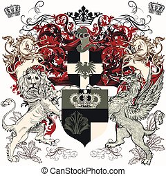lejon, skydda, grip, heraldisk, design