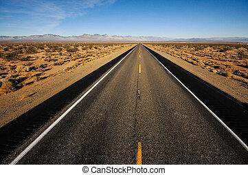 lejos, montañas, lejos, camino, plomos