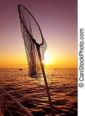 lejt behálóz, alatt, csónakázik, halászat, képben látható,...