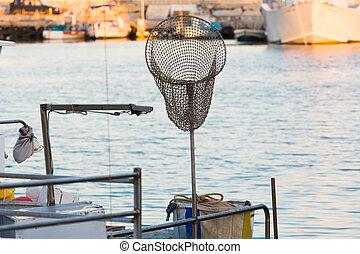 lejt behálóz, alatt, csónakázik, halászat