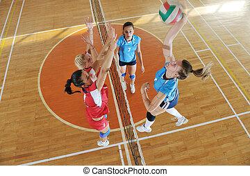lek, inomhus, flickor, spelande volleyboll