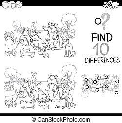 lek, kolorit, hund, sida, skillnad