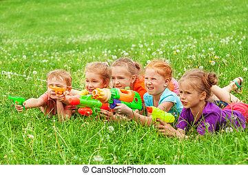 lek, lurar, äng, lagd, vatten gevär