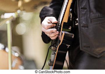 lek, på, gitarr, selektivt fokusera