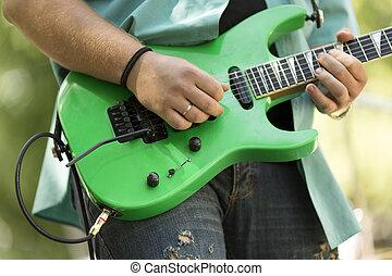 lek, på, gitarr
