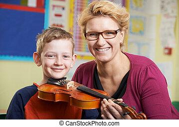 lek, portion, musik, elev, violin, lektion, manlig lärare