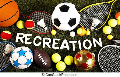 lek, sporter utrustning, naturlig, färgrik, tonen