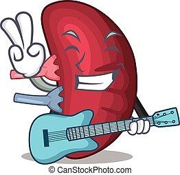 leka för gitarr, tecknad film, mänsklig, musiker, design, ...