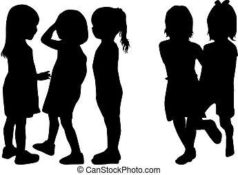 leka,  silhouettes, barn