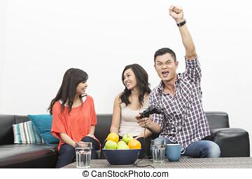 leka, vänner, video, ung, spel, kinesisk, hem