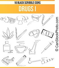 lekarstwa, bazgrać, komplet, czarnoskóry, ikona