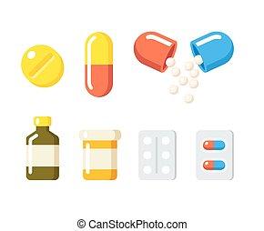 lekarstwa, i, pigułki, ikony