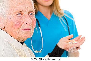 lekarstwa, kobieta, stary, smutny