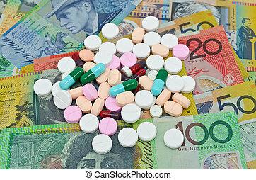 lekarstwa, pieniądze, tło