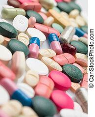 lekarstwa, recepta, barwny, rozmaitość