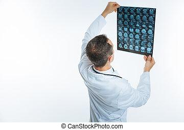 lekarz, głowa, obraz, zawrócony, wstecz, patrząc, x promień