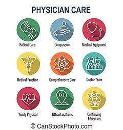 lekarz, ikona, pacjent, medyczny, troska, w, komplet, troska...