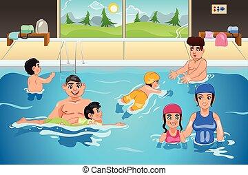 lekcja, dzieciaki, posiadanie, pływacki