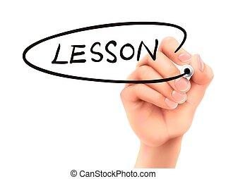 lekcja, słowo, pisemny, ręka