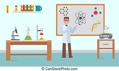 lekcja, wyjaśnia, wyposażenie, chemiczny, illustration., wektor, molecules., samiec, education., experiments., nauczyciel, kolegium, klasa, blackboard., chemia, atomy, szkoła