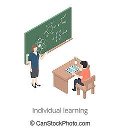 lekcje, 10, isometric, learning., illustration., płaski, styl, odizolowany, tło., osobnik, student., vector., biały, eps, wyjaśnia, nauczyciel, 3d