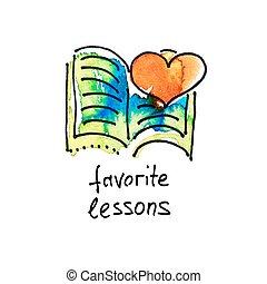 lekcje, akwarela, rys, ulubieniec, ikona