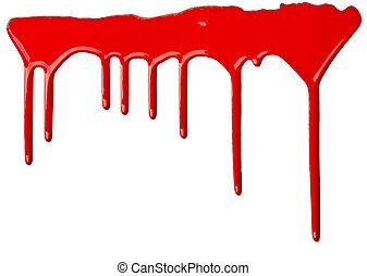 lekkend, verf , kunst, rood