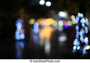 lekki, abstrakcyjny, ciemny, bokeh, ulica, tło