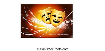 lekki, abstrakcyjny, nowoczesny, maski, tło, komedia, tragedia