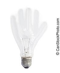lekki, abstrakcyjny, odizolowany, ręka, formułować, tło, bulwa, biały