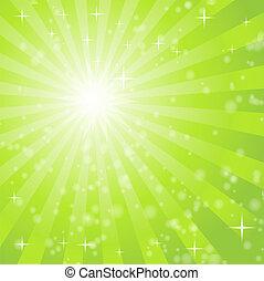 lekki, abstrakcyjny, promienie, zielone tło