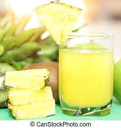 lekki, ananas, tło, sok