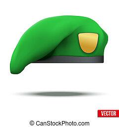 lekki, beret, zielony, wojska, wojskowy, szczególny