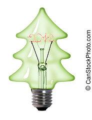 lekki, drzewo, lampa, tło, wolfram, bulwa, białe boże narodzenie