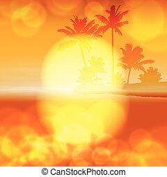 lekki, drzewo, soczewka, dłoń, morze, zachód słońca