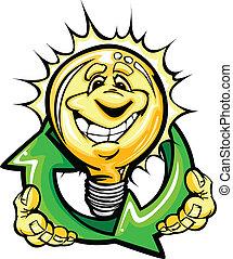lekki, energia, recycling, strzały, twarz, oszczędności, holiding, bulwa, uśmiechanie się, rysunek
