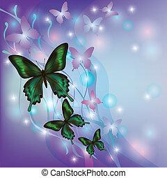 lekki, jarzący się, abstrakcyjny, tło, z, motyle