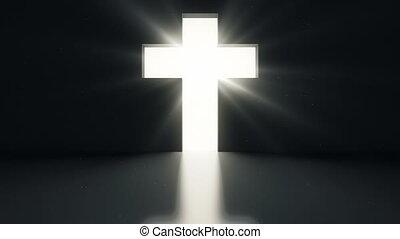 lekki, jasny, drzwi, otworzony, krzyż