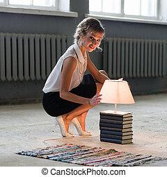 lekki, jasny, kobieta, książki, bulwa
