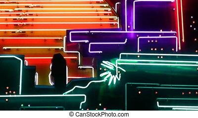 lekki, kasyno, neon, 4, noc