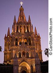 lekki, meksyk, noc, kościół