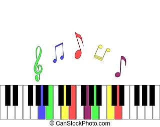 lekki, piano, elementy, tło