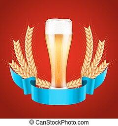 lekki, słód, etykieta, szkło, piwo, browar