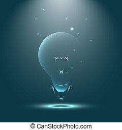 lekki, twórczy, wyobraźnia, bulwa, lustrzany, natchnienie