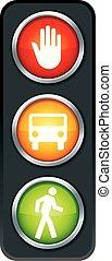 lekki, zatrzymywać, ręka, pieszy, orange., handel, pojazd, icon., green., red.
