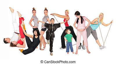 lekkoatletyka, ludzie, grupa, collage